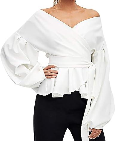 Vectry Blusas De Mujer Blusa Hombros Descubiertos Blusa con Escote Camisetas Larga Chica Camisetas con Volantes Mujer Camiseta Mujer Manga Larga Blusas Largas De Mujer Blusa: Amazon.es: Ropa y accesorios