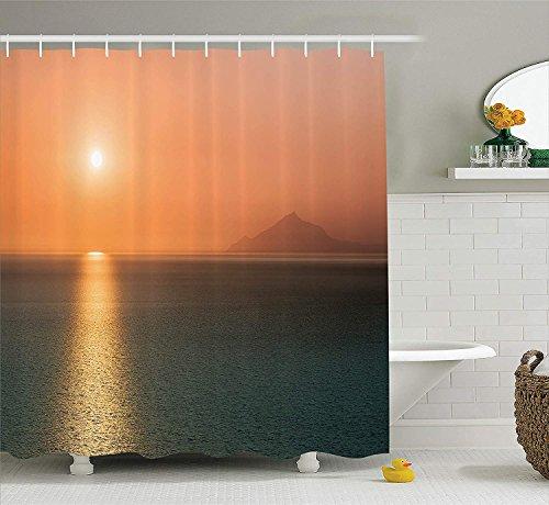 GG-go Burnt Orange Decor Shower Curtain Set, Sunrise Over The Ocean Magical Burnt Sky Horizon Reflection Seascape Coastal Theme, Bathroom Accessories, 60W X 72L Inches, Orange Blue