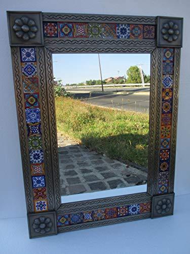 PUNCHED TIN MIRROR mixed talavera tile mexican folk art mirrors wall -