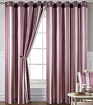 Damson Stripe Eyelet Curtains 90 X