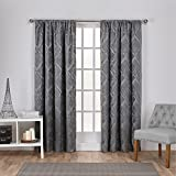 Exclusive Home Elena Wave Chenille Window Curtain Panel Pair with Rod Pocket, 52×108, Soft Grey, 2 Piece