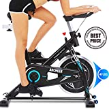 ANCHEER Indoor Stationary Exercise Bike,Cycling Bike Portable with Adjustable Resistance &Handlebar,49LBS Flywheel Exercise Bike for Adults or Seniors with LED Monitor& IPAD Mount