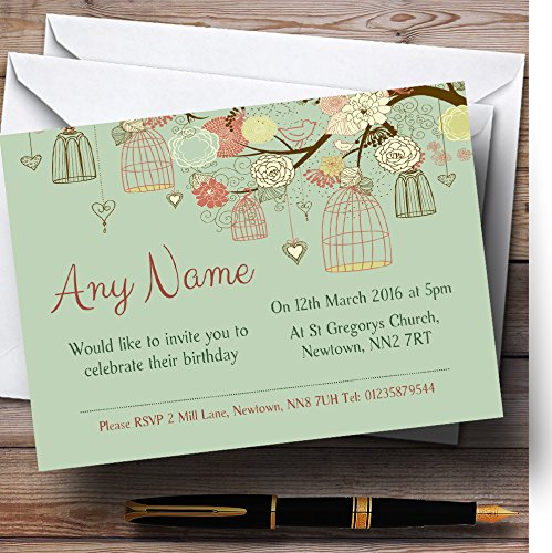 - Vintage Shabby Chic Birdcage Green Personalized Birthday Party Invitations