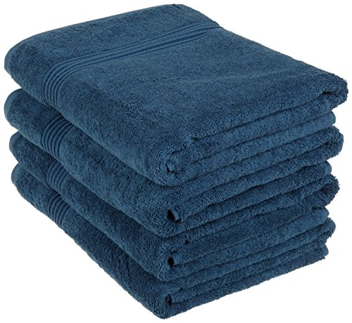 """Superior Luxurious Soft Hotel & Spa Quality Bath Towel Set of 4, Made of 100% Premium Long-Staple Combed Cotton - Sapphire, 30"""" x 54"""" each"""