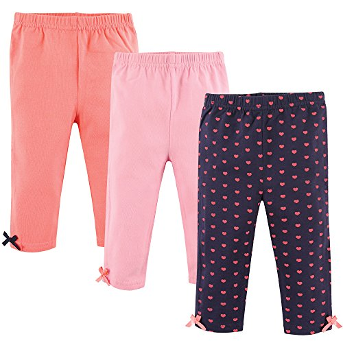 Hudson Baby Baby Girls' Cotton Leggings, 3 Pack, Hearts, 6-9 Months (9M) Baby Girls Infant Legging