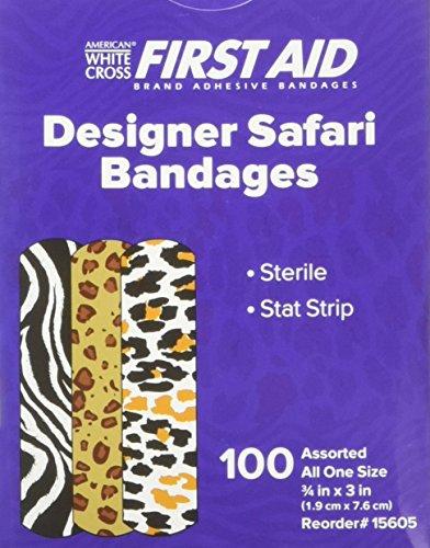Safari Bandaids 3/4x3 100 plastic strips per box Designer Bandages
