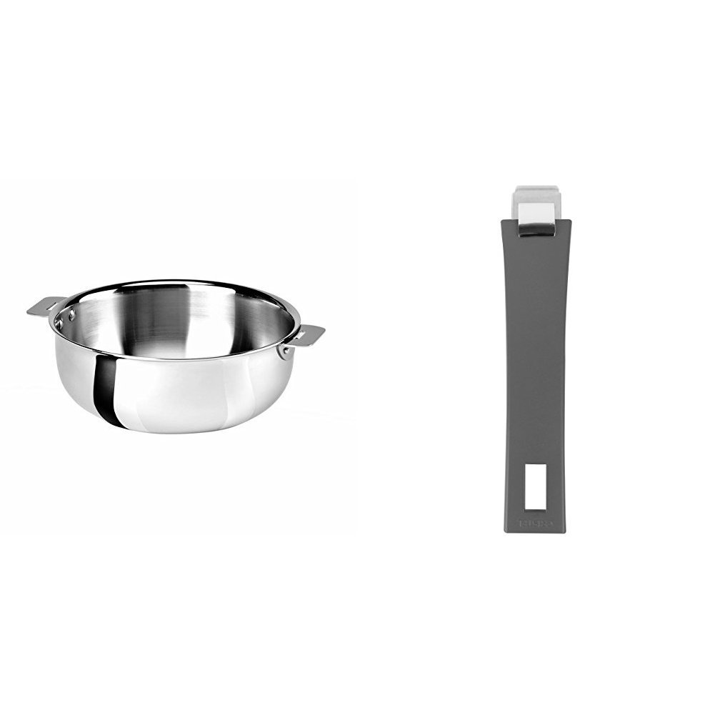 Cristel SR22QMP Saucier, Silver, 3 quart with Cristel Mutine Pmag Handle, Long, Grey