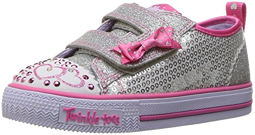 Skechers Twinkle Toes Shuffles Itsy Bitsy Girls Light Up Sneakers Silver/Hot Pink (Glitter Twinkle Silver Shoes)