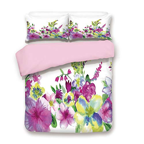 iPrint Pink Duvet Cover Set,King Size,Hybrid Garden Floret Composition with Heathers and Stocks Art,Decorative 3 Piece Bedding Set with 2 Pillow Sham,Best Gift for Girls Women,Pink ()