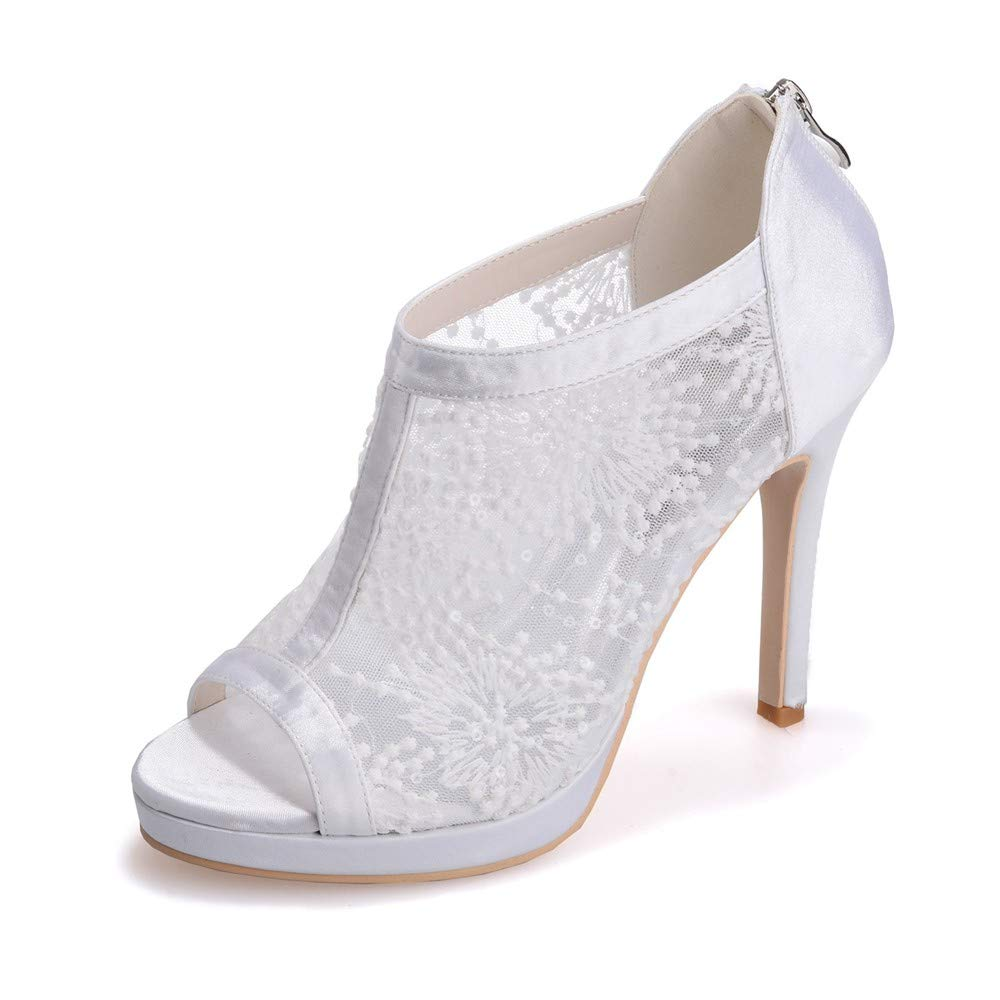Zxstz Dames soirée Peep Toe Pompes de Mariage Robe de soirée Dames soirée Plate-Forme de Bal élégantes Chaussures à Talons Hauts Femmes 40|blanc b2cbd1