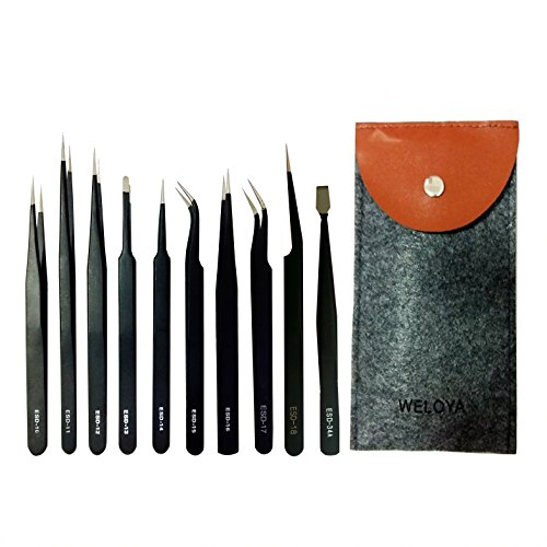 WELOYA 10 Pieces Precision Anti-static ESD Tweezers Stainless Steel Forceps for Electronics, Jewelry-making, Nail, Laboratory Work