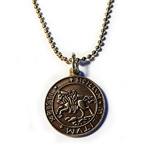 Knights Templar Seal Crusaders Solomon's Temple Antique Gold Masonic Necklace - 7/8