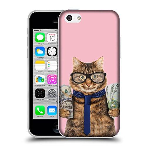 GoGoMobile Coque de Protection TPU Silicone Case pour // Q05660630 Chat d'affaires Rosa // Apple iPhone 5C