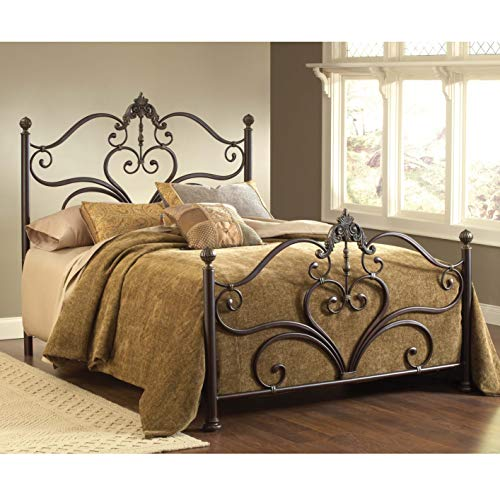 (Hillsdale Furniture 1756BQR Newton Bed Set with Rails, Queen, Antique Brown Highlight)