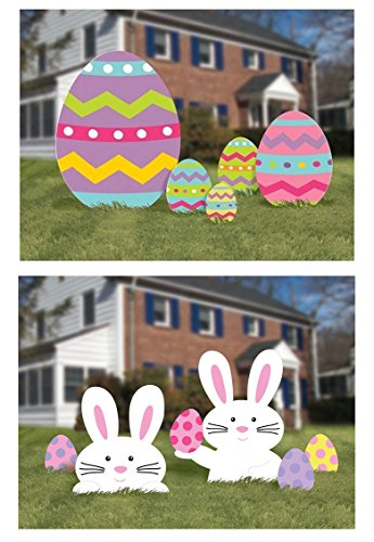 Easter Egg Hunt or Yard Sign Decorations - Large 10 Piece Set Includes Bunnies and -
