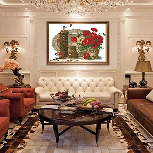 Zamtac Teacup and Poppy Cross Stitch Kits Living Room Printed Patterns Canvas Embroidery Needlework Set Cross-Stitch DIY Home Decor - (Cross Stitch Fabric CT Number: 11CT White -