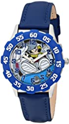 Disney Kids' Mickey Mouse Stainless Steel Watch, W001594, Blue Leather Band