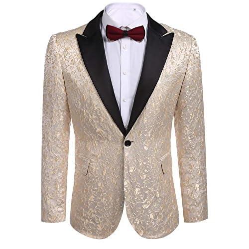 Nice Etuoji Men's Casual Suits Jacket Slim Fit Party Suit Long Sleeve Blazer Dinner Coat