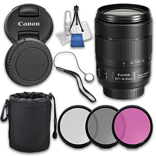 Canon EF-S 18-135mm f/3.5-5.6 Image Stabilization USM with Grace Photo Accessories Kit