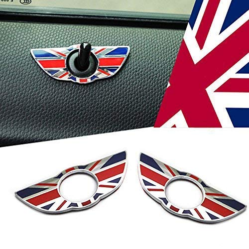 iJDMTOY (2) Union Jack Style Wing Emblem Rings For MINI Cooper R60 Countryman R61 Paceman Door Lock Knobs, Red/Blue UK Flag Design