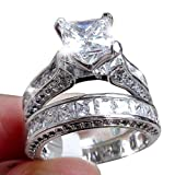 Bookear 2-in-1 Womens Vintage White Diamond Silver Engagement Wedding Band Ring Set (8)