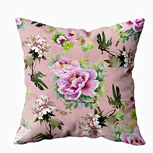 Musesh Abstract Art Pillow Cover,Throw Pillow Ccovers, Floral Tile Summer Texture with Flowers Pattern Pink Background for Sofa Home Decorative Pillowcase 16X16Inch Pillow Covers