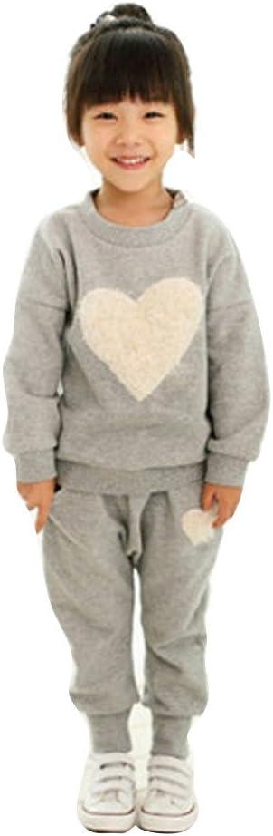 Kids Girl Long Sleeve Heart Print Sweatshirt Tracksuit Harem Pants Outfits Sets