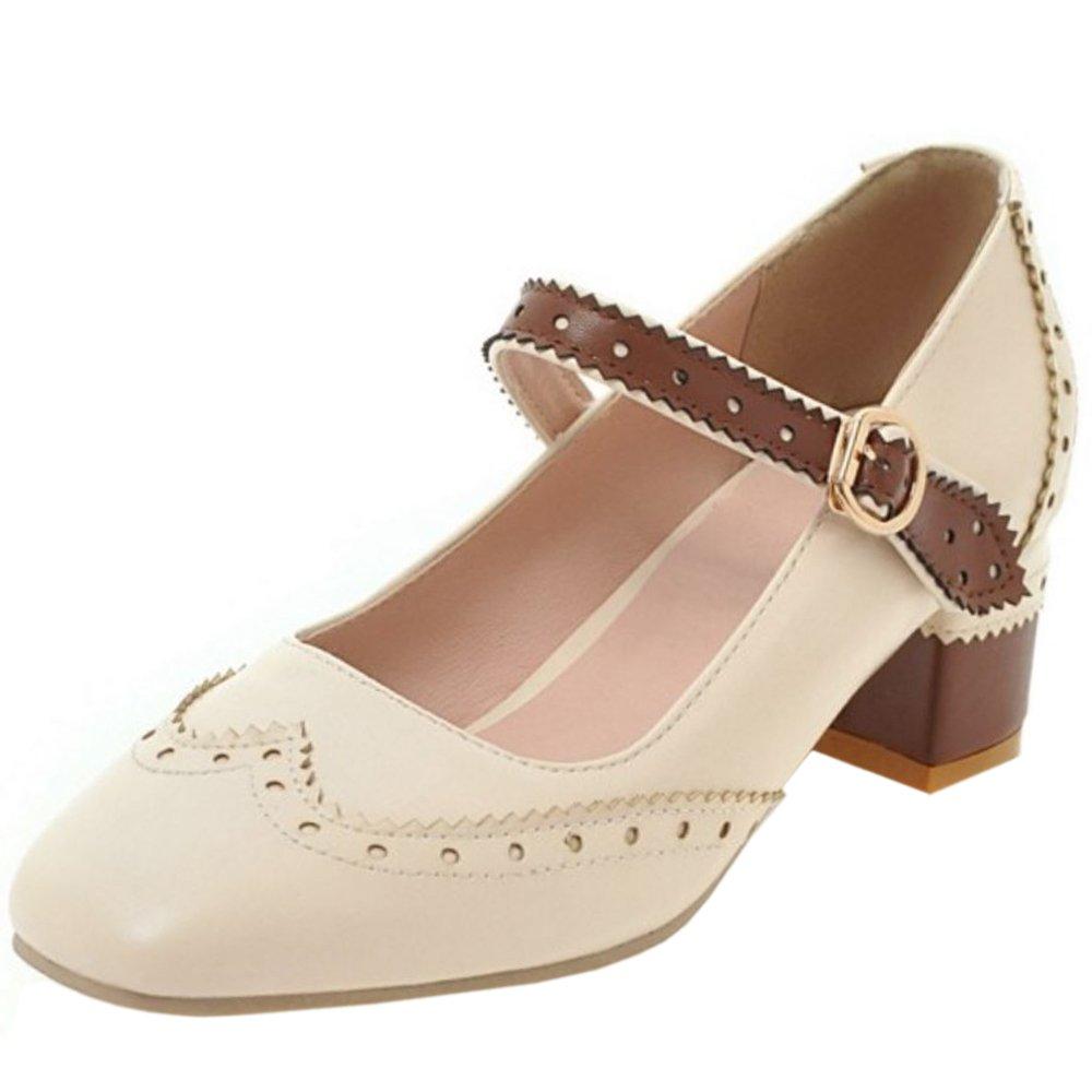 Zanpa Damen Klassische Schuhe mit Absatz Niedrige37 EU / 37 AS / 23.5 CM|Beige