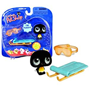 """Hasbro Year 2007 Littlest Pet Shop Portable Pets """"Real Feel Pets"""" Series Bobble Head Pet Figure Set #333 - Black Penguin with Snow-Sled and Goggle (63419"""