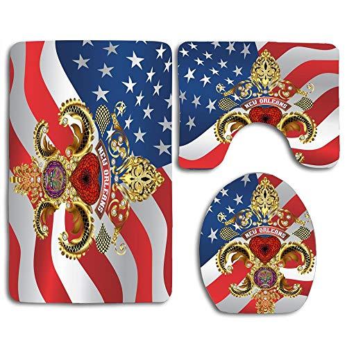 NEWcoco 3PCS Toilet Carpet Mats Seat Cushion Cover Doormat Queen New Orleans Fleur de lis PC Flag