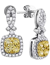 Solid 14k White and Yellow Two Toned Gold Round Yellow And White Diamond Square Shaped Halo Prong Set Stud Earrings (1.3 cttw)