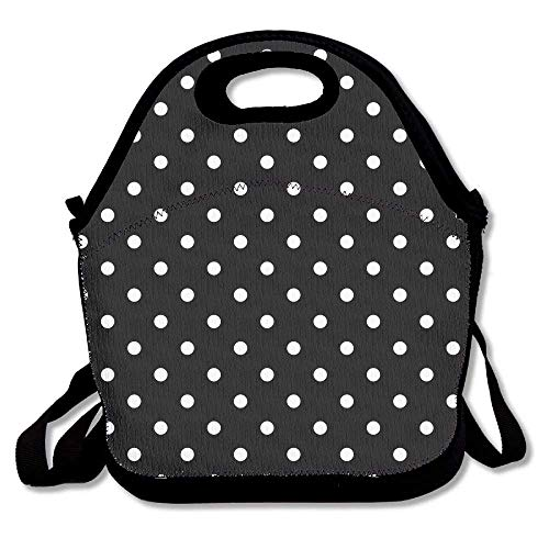 (Resuable Polyester Lunch Bag Tote Bag Lunch Organizer with Zipper (Black Polka Dot))