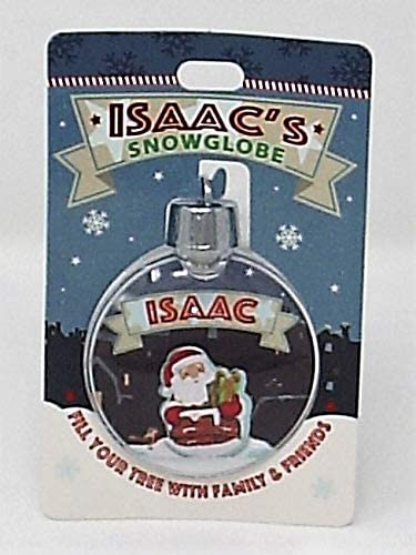 Personalised with Isaac On a Snowy Night H/&H Christmas Snow Globe Bauble