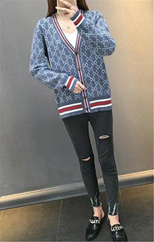 JIANGWEI レディース ボタン ニット カーディガン  ショート丈  ゆったり ストーリー 春 vネック ジャケット 可愛い おしゃれ カジュアル