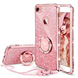 OCYCLONE iPhone 8 Case, iPhone 7 Case for Girl Women, Glitter Cute Girly Diamond Rhinestone Bumper with Ring Kickstand Protective Phone Case for iPhone 8 / iPhone 7 - Rose Gold [Pink]