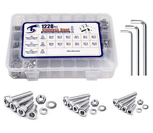1228Pcs M3/M4/M5x8/12/16/20mm Metric Stainless Steel Hex Socket Head Cap Screws Bolts Nuts Lock Flat Washers (Shcs) Assortment Kit, Allen Key