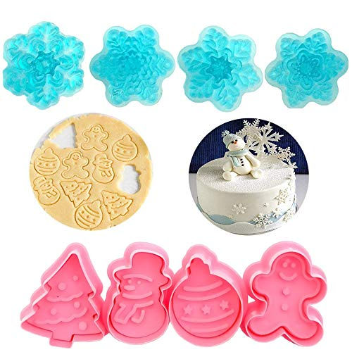 Sakolla(Set of 8) Christmas Cookie Cutter - Gingerbread Man/Christmas Tree/Snowman/Snowflake Cookie Stampers Plunger Cutters for Cupcake Decorating Gumpaste Fondant (Tree Cutter Christmas Plunger)