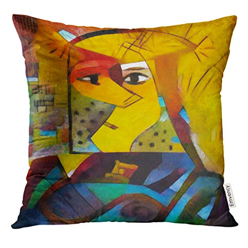 Emvency Throw Pillow Cover Alternative Reproductions of Famous Paintings by Picasso Applied Abstract Kandinsky Designed in Modern Decorative Pillow Case Home Decor Square 18x18 Inches Pillowcase