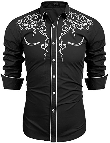JINIDU Mens Long Sleeve Shirt Embroidery Slim Fit Casual Button Down Retro Shirts
