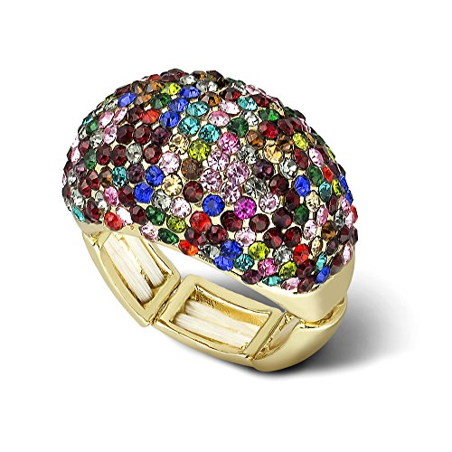 Lux Accessories Goldtone Multicolor Rhinestone Statement Stretch Cocktail Ring