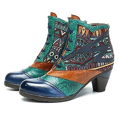 713a846a986ab3 Socofy Bottes Cuir Femmes, Chaussures de Ville à Talons Hauts Moyens  Confortable Bottines Boots Santiags