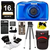 Nikon Coolpix W100 Waterproof Digital Camera (Blue) with 16GB Card + Battery with Charger + Strap and Bundle