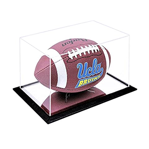 JackCubeDesign Football Display Case Stand Showcase Storage Box Holder with Clear Acrylic Cover(Black, 11.4 X 7 X 7 inches) - - Sports Memorabilia Display Case