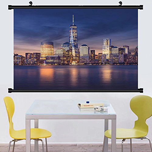 Gzhihine Wall Scroll New York Wall Hanging New York City Midtown with Empire State Building at Sunset Business Center Rooftop Photo Decor Peach 28
