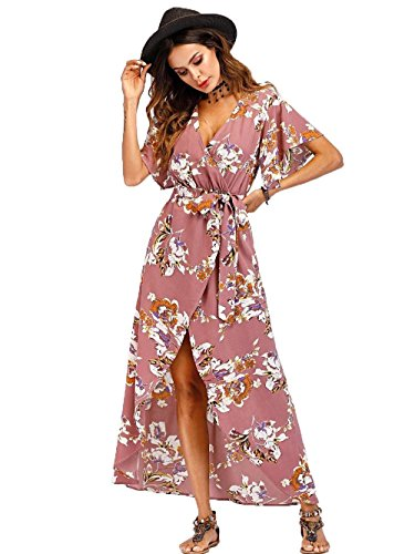 Floral Tulip Dress - Floerns Women's V Neck Short Sleeve Belted Floral A Line Wrap Dress Pink M