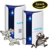 AMYER Ultrasonic Pest Repeller, Lastest Ultrasonic Pest Repellent Electronic&Dual Ultrasound, Pest Reject Plug in Indoor《Anti Mosquito,Mice,Rat,Roach,Insect,Bug,Spider,Rodent,Ant》2 Pack