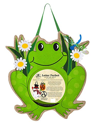 Evergreen Flag Frog Monogram Felt Door Decor