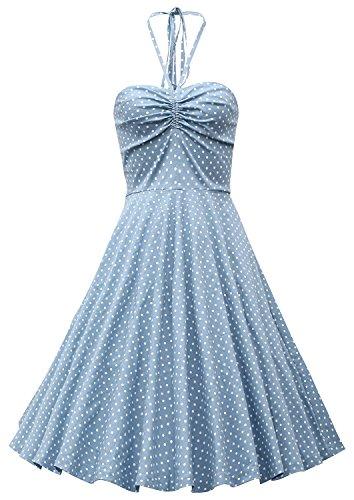 MUXXN Women's Off-shoulder Halter Polka Dot Vintage Dress (M, Turquoise)