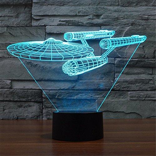 SmartEra® Star Trek Battleship 3D Optische Täuschung Mehrfarbig ändern Berühren Sie Botton Schreibtischlampe Tischleuchte