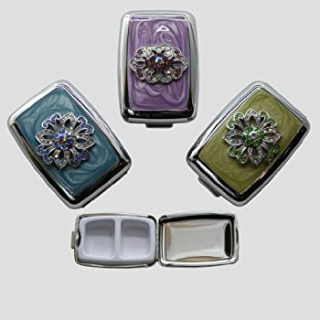 Green Crystal Bloom Pill Box - 2 Internal Compartments - Medication Aid - Other Styles Available (green)